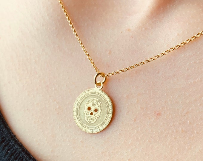 Gold Skull Necklace For Women - Dainty Silver Coin Charm Necklace To Gift For Her - Minimalist Skull Jewelry