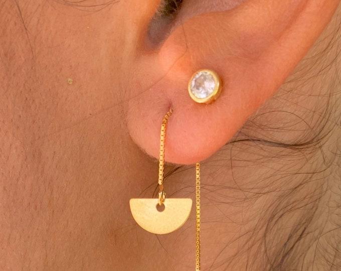 Geometric Earrings, Gold Charm Earrings, Threader Earrings, Geometric Jewelry, Long Chain Earrings, Dainty Earrings, Minimalist Earrings
