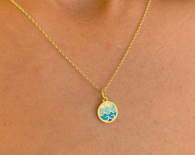 Dainty Necklace For Women - Gold Wave Charm Necklace - Minimalist Silver Surfer Jewelry To Gift For Her