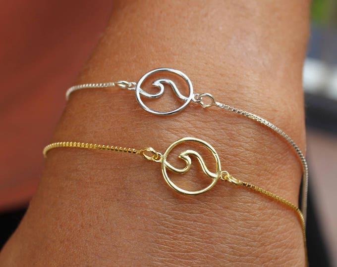 Gold Bracelet - Wave Bracelet For Women - Ocean Wave Jewelry - Dainty Surfer Bracelet - Silver Bracelet - Charm Bracelet - Gold Bracelet