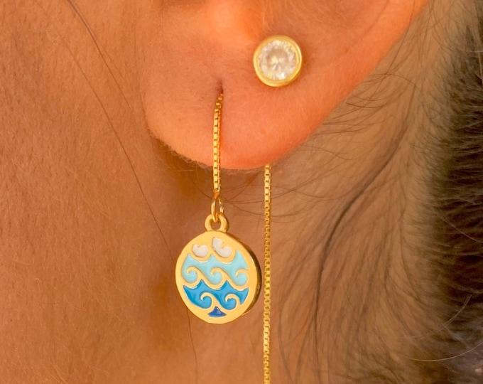 Wave Gold Earrings, Dainty Gold Earrings, Gold Charm Earrings, Surfer Earrings, Wave Jewelry, Long Chain Earrings, Minimalist Earrings
