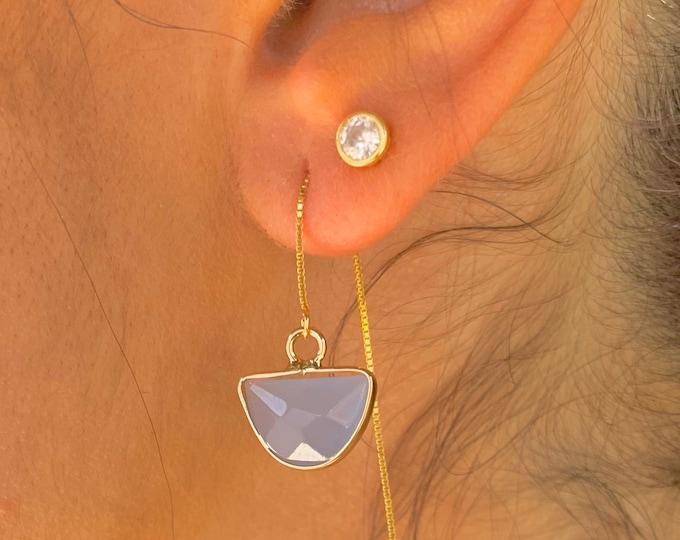 Blue Jade Earrings, Dainty Gold Earrings, Gold Jade Earrings, Threader Earrings, Jade Jewelry, Long Chain Earrings, Gemstone Earrings