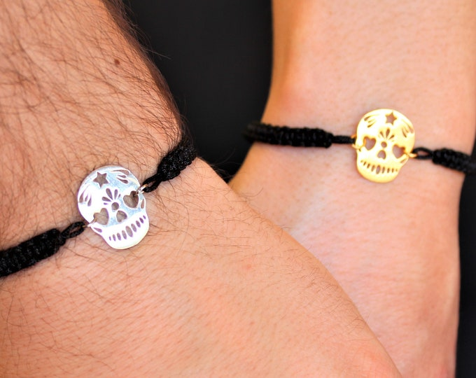 Silver Skull Couple Bracelet - Gold Friendship Set Jewelry - Gift For Couples