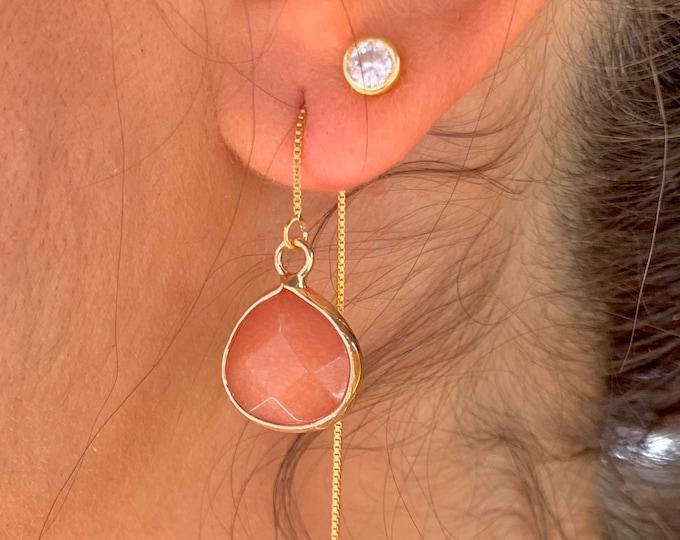 Orange Jade Earrings, Dainty Gold Earrings, Gold Jade Earrings, Threader Earrings, Jade Jewelry, Long Chain Earrings, Gemstone Earrings