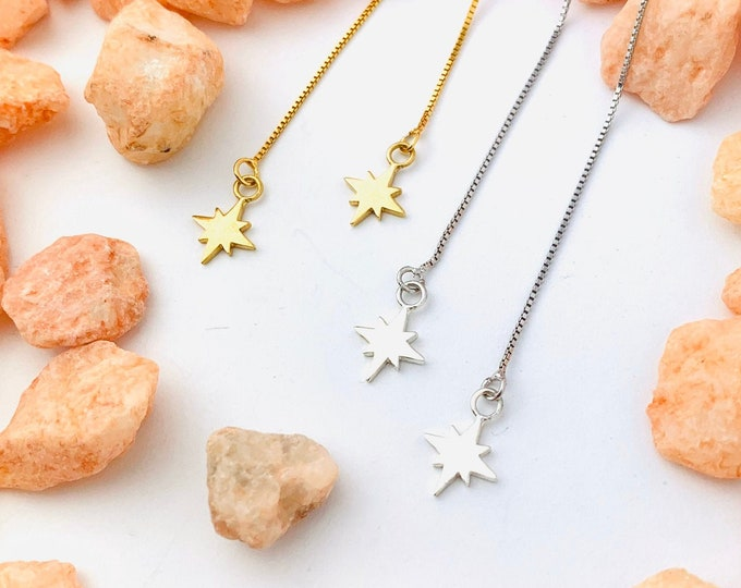 Gold Charm Earrings, Star Earrings, Threader Earrings, Star Jewelry, Long Chain Earrings, Dainty Charm Earrings, Minimalist Gold Earrings,