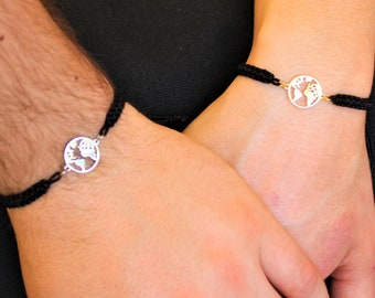 Silver World Map Couple Bracelet - Gold Friendship World Jewelry - Gift For Couples