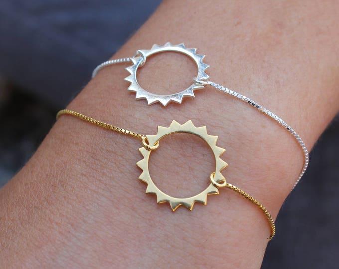 Gold Sun Charm Bracelet For Women - Sterling Silver Sun Jewelry To Gift For Her - Dainty Silver Sun Bracelet