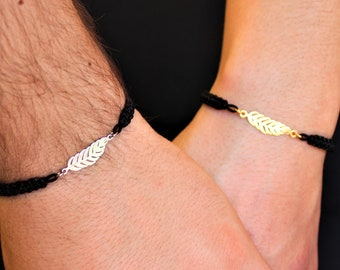 Silver Feather Couple Bracelet - Gold Friendship Set Jewelry - Gift For Couples
