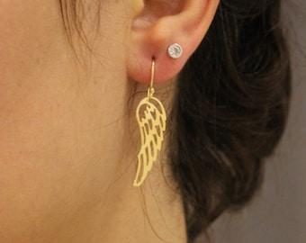 Angel wing Earrings, wing Earrings, Dainty Earrings, Minimalist Earrings, 24kt Gold Plated Earrings, Tiny Earrings, Boho Earrings