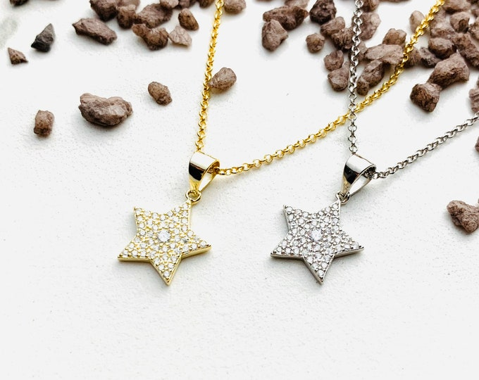 CZ Star Charm Necklace For Women - Minimalist Silver Necklace - Dainty StarJewelry To Gift For Her - Star Gold Necklace