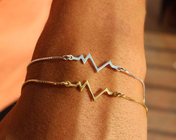 Gold Heartbeat Bracelet For Women - Dainty Silver Heartbeat Jewelry - Minimalist EKG Bracelet To Gift For Her