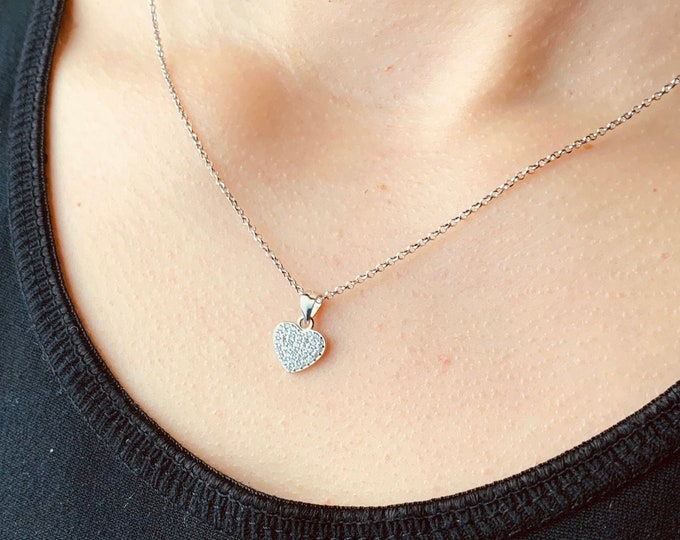 CZ Heart Necklace For Women - Dainty Silver Heart Charm Necklace To Gift For Her - Minimalist Love Jewelry