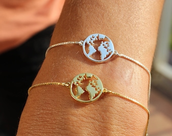 Gold World Map Charm Bracelet For Women - Sterling Silver World Map Jewelry For Traveler - Minimalist World Bracelet