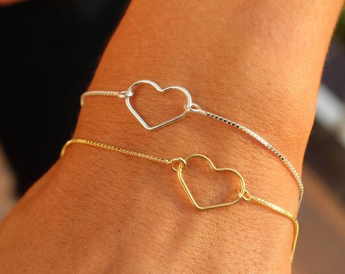 Silver Heart Bracelet For Women - Dainty Gold Heart Jewelry - Minimalist Heart Bracelet - Gift For Her