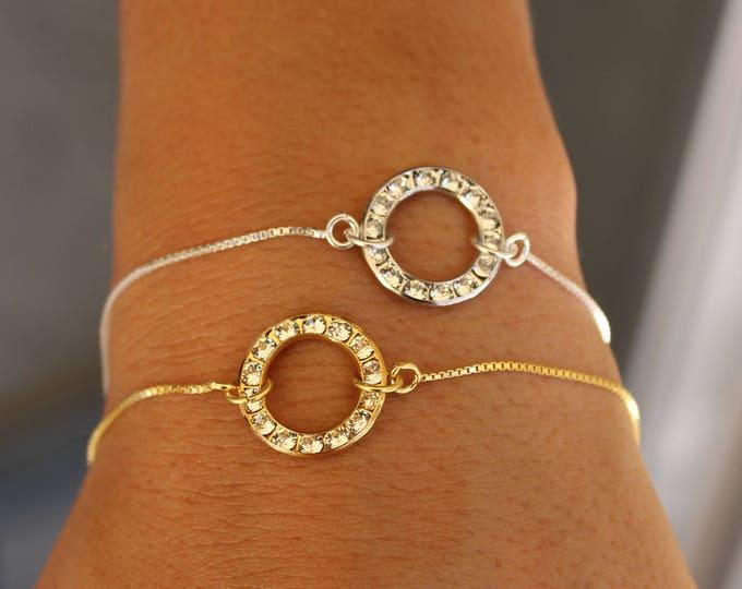 Swarovski Bracelet, Dainty Bracelet, Circle Bracelet, Infinity Bracelet, Charm Bracelet, Bracelet For Women, Bridesmaid Bracelet, Gift