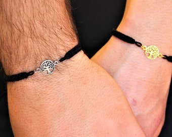 Silver Tree Of Life Couple Bracelet - Gold Friendship Set Jewelry - Gift For Couples