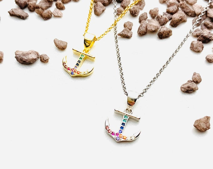 Gold Anchor Charm Necklace For Women - Dainty Anchor Jewelry - Minimalist CZ Necklace To Gift For Her - Rainbow Charm Necklace