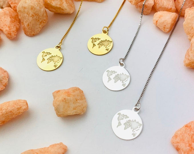 World Map Earrings, Dainty Gold Earrings, Gold Charm Earrings, Threader Earrings, World Jewelry, Long Chain Earrings, Minimalist Earrings