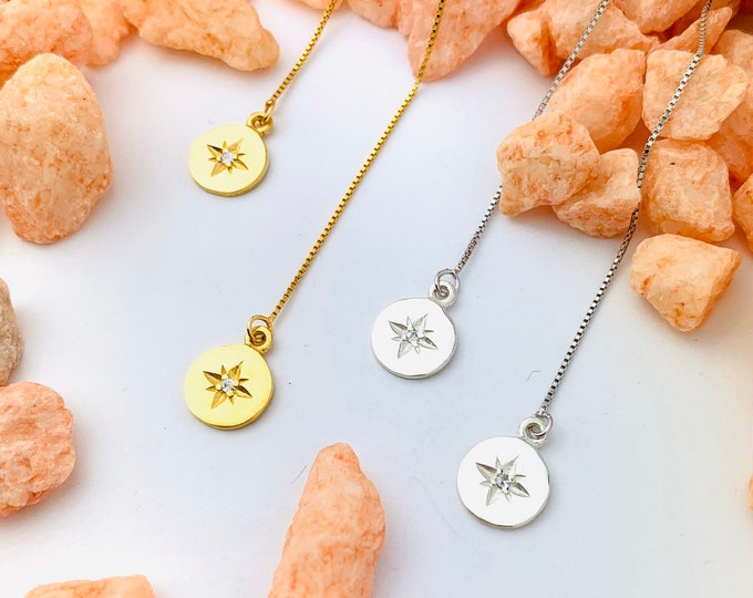 Gold Star Earrings, Star Earrings, Threader Earrings, Star Jewelry, Long Chain Earrings, Dainty Earrings, Charm Earrings, Tiny Earrings,