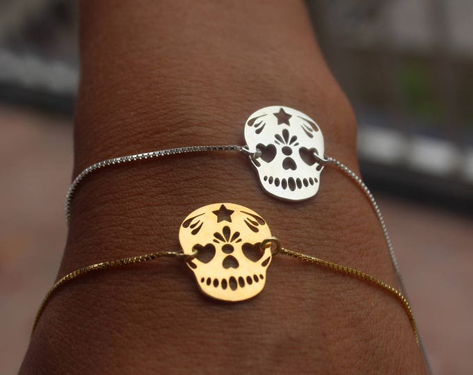 Gold Mexican Skull Charm Bracelet For Women - Sterling Silver Skull Jewelry To Gift For Her