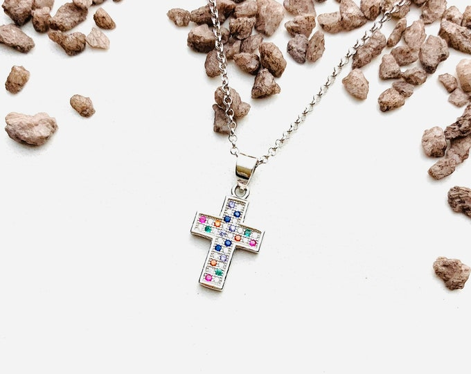 Silver Cross Necklace For Women - Minimalist Cross Jewelry - Dainty Rainbow CZ Necklace - Charm Pendant To Gift For Her
