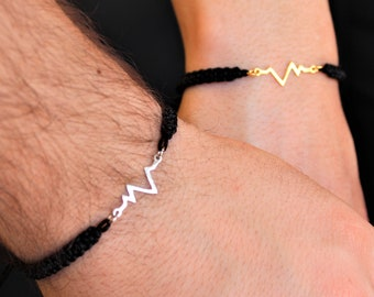 Silver Heartbeat Couple Bracelet - Gold Friendship Set Jewelry - Gift For Couples