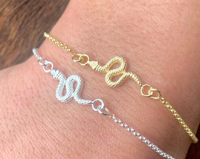 Snake Bracelet For Women - Dainty Gold Snake Bracelet - Minimalist Silver Snake Bracelet - Snake Jewelry - Animal Bracelet - Charm Bracelet