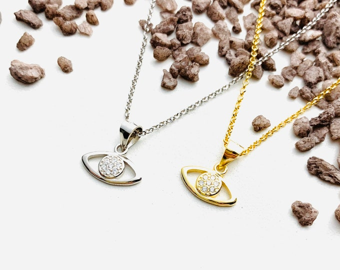 CZ Evil Eye Charm Necklace For Women -Dainty Gold Necklace - Minimalist Silver Jewelry To Gift For Her - Evil Eye With CZ Necklace