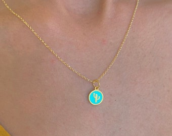 Dainty Gold Cactus Charm Pendant Necklace For Women - Sterling Silver Cactus Jewelry
