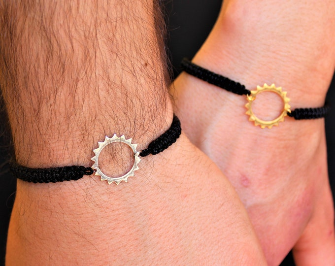 Silver Sun Couple Bracelet - Gold Friendship Set Jewelry - Gift For Couples