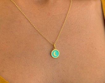 Gold Crescent Moon Charm Pendant Necklace For Women - Dainty Sterling Silver Celestial Jewelry