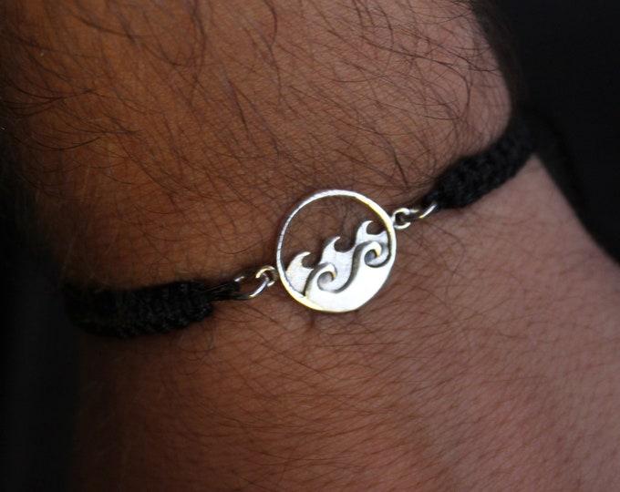 Wave Bracelet, Mens Bracelet, Bracelets For Men, Charm Bracelet, Wave Jewelry, Surfer Bracelet, Bracelet Men, Friendship Bracelet