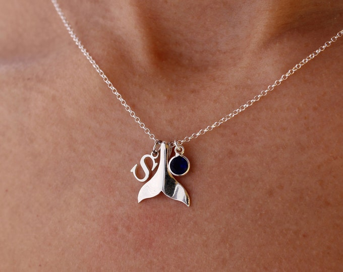 Silver Whale Tail Necklace - Dainty Personalized Necklace - Minimalist Jewelry To Gift For Her