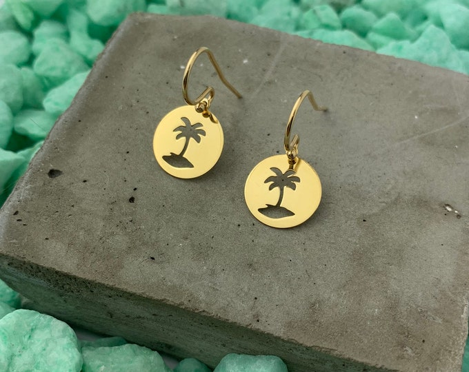 Gold Dangle Earrings To Gift For Her - Dainty Palm Tree Earrings - Minimalist Palm Tree Jewelry - Tiny Drop Earrings
