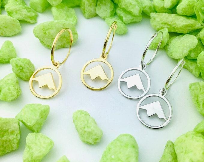 Mountain Earrings, Hoop Earrings, Dainty Earrings, Charm Earrings, Earrings Hoops, Earrings For Women, Silver Earrings, Silver Hoop Earrings