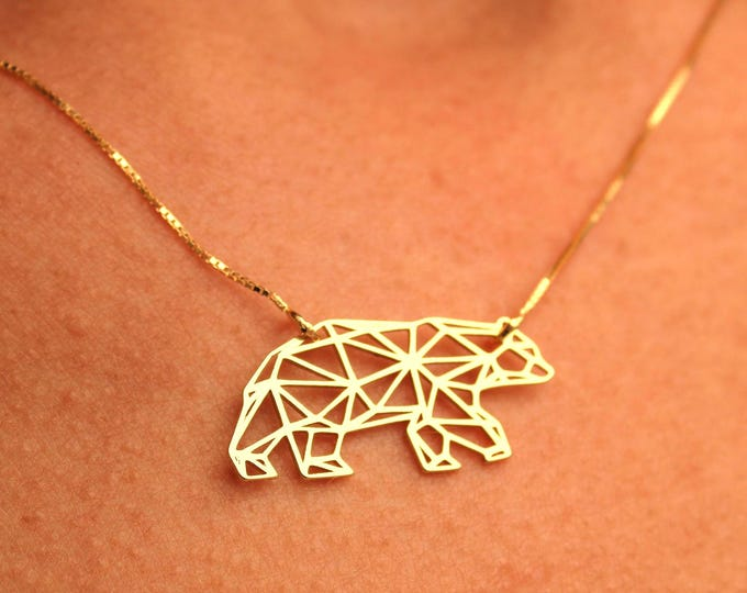 Gold Bear Necklace For Women - Silver Bear Jewelry - Mom Gift - Dainty Gold Beard Necklace - Charm Necklace - Animal Necklace