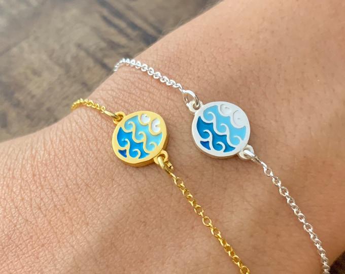 Tiny Gold Wave Charm Bracelet For Women - Minimalist Sterling Silver Surfer Jewelry - Dainty Ocean Wave Bracelet