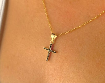 Dainty Cross Necklace For Women - Silver Necklace To Gift For Her - Minimalist Cross Jewelry - Rainbow Cross Charm Pendant