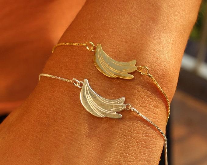 Sterling Silver Banana Charm Bracelet For Women - Dainty Gold Banana Jewelry To Gift For Her - Minimalist Bracelet