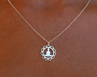 Sterling Silver Buddha Pendant Necklace For Women - Dainty Yoga Charm Jewelry To Gift For Her
