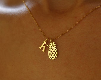 Collar Piña Con Iniciales - Pineapple Necklace With Initial