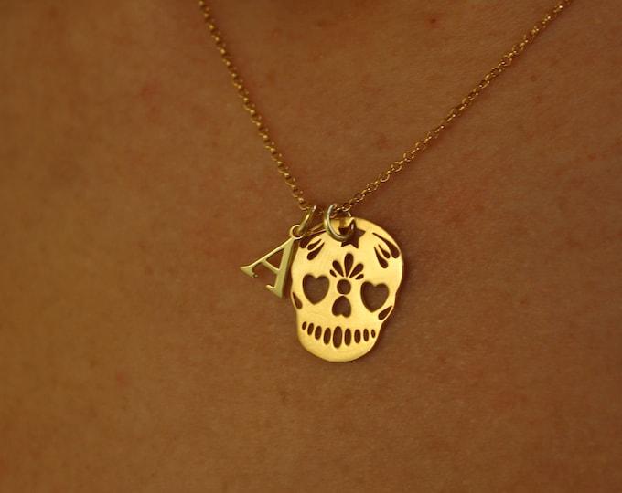 Collar Calavera Con Iniciales - Skull Necklace With Initial