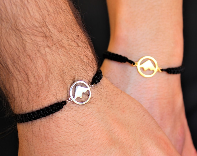 Silver Mountain Couple Bracelet - Gold Friendship Set Jewelry - Gift For Couples