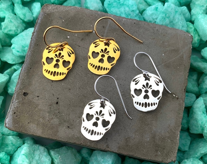 Gold Dangle Earrings To Gift For Her - Dainty Silver Skull Drop Earrings - Minimalist Skull Jewelry