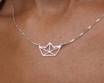 Silver Paper Boat Necklace For Women - Dainty Boat Jewelry - Minimalist Pendant To Gift For Her