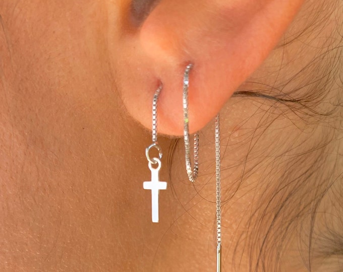 Cross Earrings, Dainty Gold Earrings, Gold Charm Earrings, Threader Earrings, Cross Jewelry, Long Chain Earrings, Minimalist Gold Earrings
