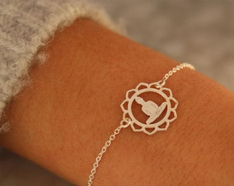 Sterling Silver Buddha Charm Bracelet For Women -  Buddha Jewelry To Gift For Her - Dainty Yoga Bracelet