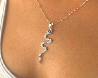 Snake Necklace For Women, CZ Necklace, CZ Jewelry, Snake Jewelry, Dainty Necklace, Minimalist Necklace, Animal Necklace, Silver Necklace