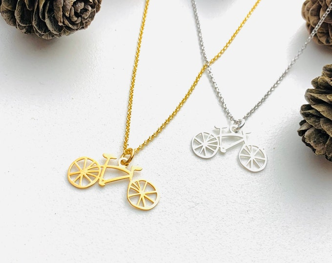 Gold Bicycle Necklace For Women - Dainty Silver Necklace To Gift For Cyclist - Minimalist Bike Jewelry - Charm Necklace - Gold Necklace