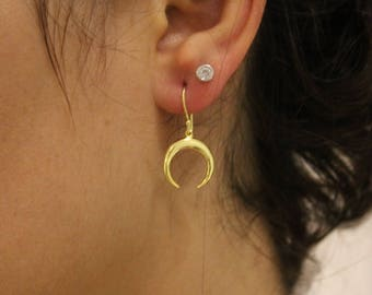 Gold Crescent Moon Earrings For Women - Dainty Dangle Earrings To Gift For Her - Moon Phase Jewelry